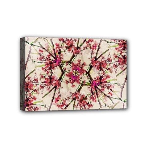 Red Deco Geometric Nature Collage Floral Motif Mini Canvas 6  X 4  (framed) by dflcprints