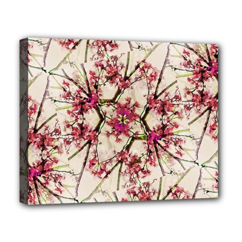 Red Deco Geometric Nature Collage Floral Motif Deluxe Canvas 20  X 16  (framed) by dflcprints