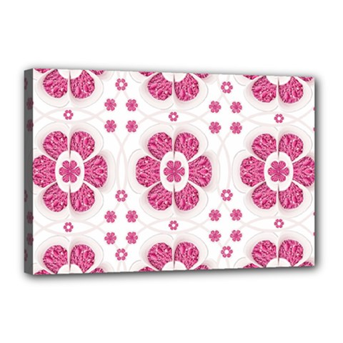 Sweety Pink Floral Pattern Canvas 18  X 12  (framed) by dflcprints