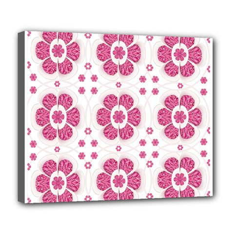 Sweety Pink Floral Pattern Deluxe Canvas 24  X 20  (framed) by dflcprints