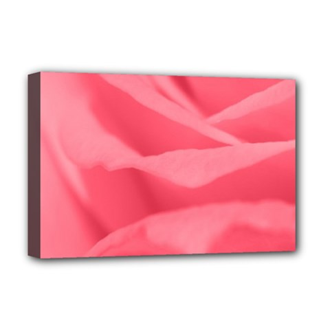 Pink Silk Effect  Deluxe Canvas 18  X 12  (framed) by Colorfulart23