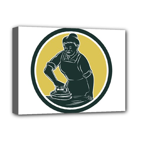 African American Woman Ironing Clothes Woodcut Deluxe Canvas 16  X 12  (framed)  by retrovectors