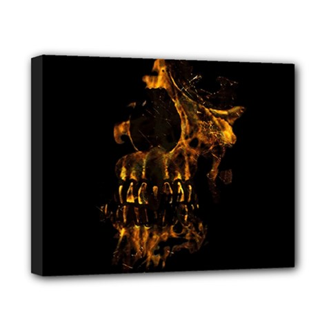 Skull Burning Digital Collage Illustration Canvas 10  X 8  (framed) by dflcprints