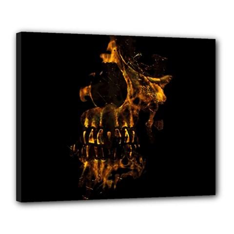 Skull Burning Digital Collage Illustration Canvas 20  X 16  (framed) by dflcprints