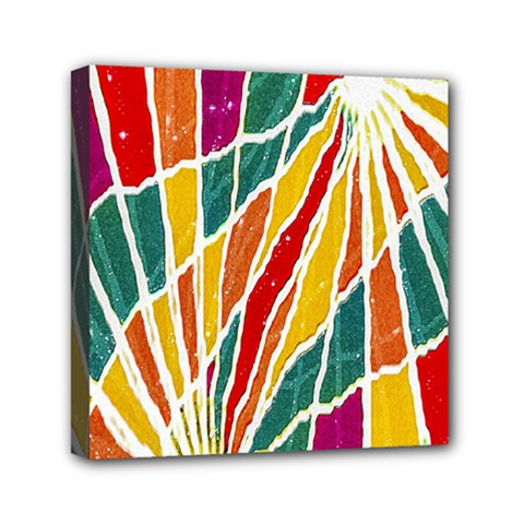 Multicolored Vibrations Mini Canvas 6  X 6  (framed) by dflcprints
