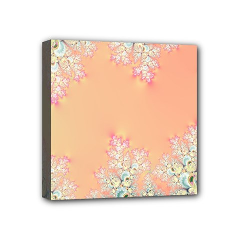 Peach Spring Frost On Flowers Fractal Mini Canvas 4  X 4  (framed) by Artist4God