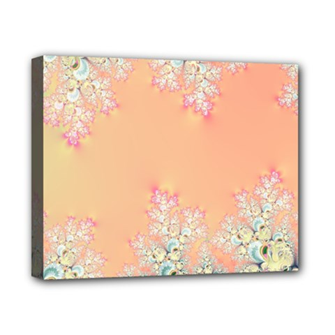 Peach Spring Frost On Flowers Fractal Canvas 10  X 8  (framed)