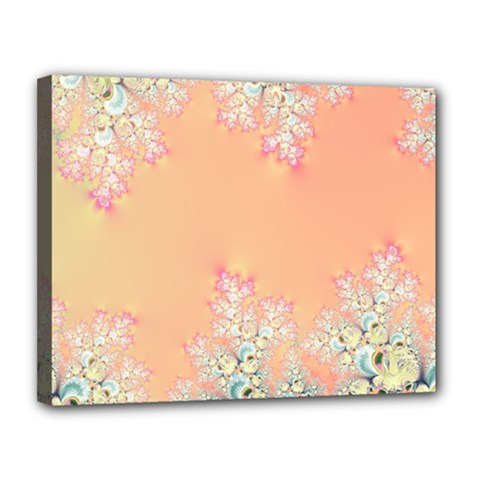 Peach Spring Frost On Flowers Fractal Canvas 14  X 11  (framed) by Artist4God