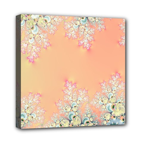Peach Spring Frost On Flowers Fractal Mini Canvas 8  X 8  (framed) by Artist4God