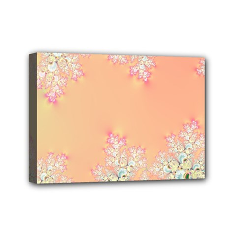 Peach Spring Frost On Flowers Fractal Mini Canvas 7  X 5  (framed) by Artist4God
