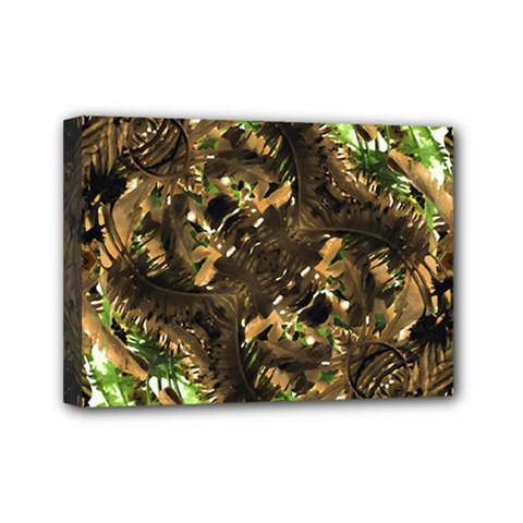 Artificial Tribal Jungle Print Mini Canvas 7  X 5  (framed) by dflcprints