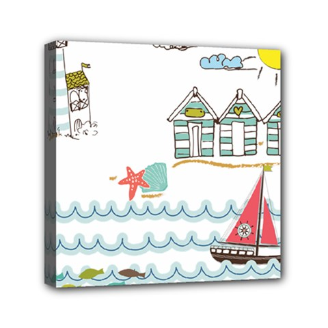 Summer Holiday Mini Canvas 6  X 6  (framed) by whitemagnolia