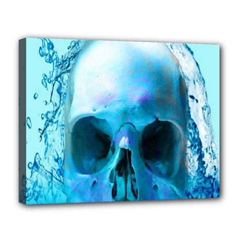 Skull In Water Canvas 14  X 11  (framed)