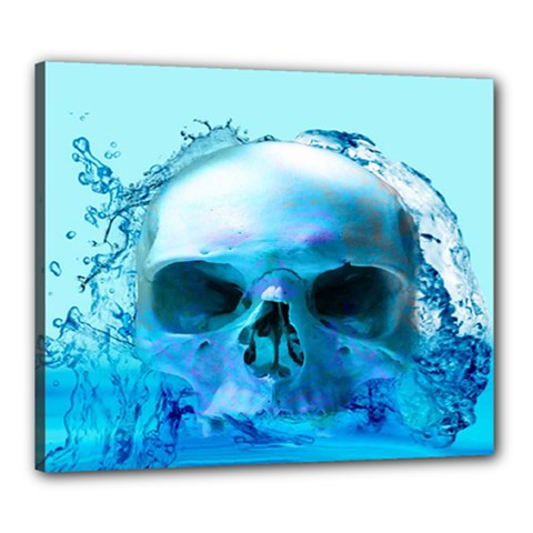 Skull In Water Canvas 24  X 20  (framed) by icarusismartdesigns