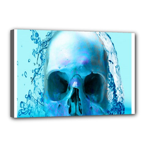 Skull In Water Canvas 18  X 12  (framed) by icarusismartdesigns