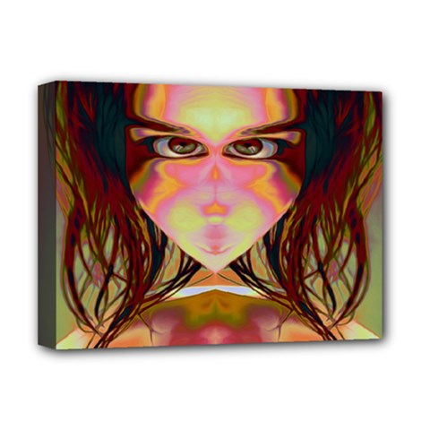 Cat Woman Deluxe Canvas 16  X 12  (framed)  by icarusismartdesigns