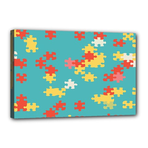 Puzzle Pieces Canvas 18  X 12  (framed) by LalyLauraFLM