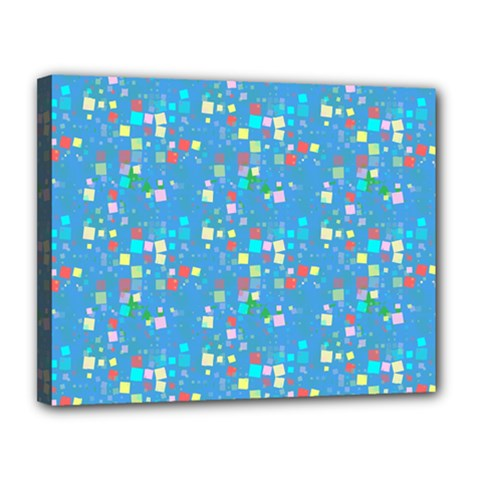 Colorful Squares Pattern Canvas 14  X 11  (stretched)