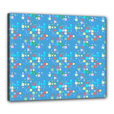Colorful Squares Pattern Canvas 24  X 20  (stretched) by LalyLauraFLM