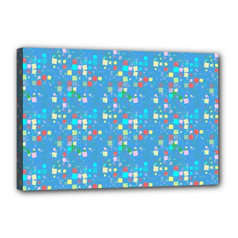 Colorful Squares Pattern Canvas 18  X 12  (stretched) by LalyLauraFLM