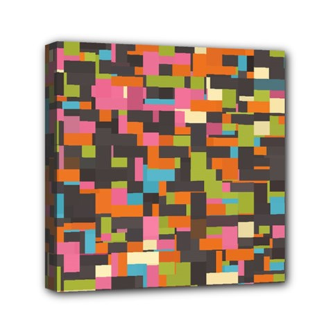 Colorful Pixels Mini Canvas 6  X 6  (stretched) by LalyLauraFLM