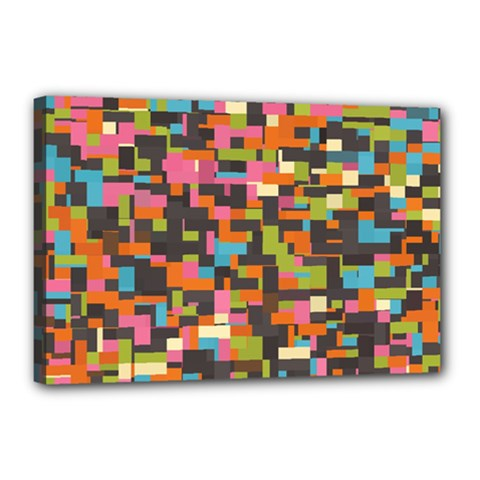 Colorful Pixels Canvas 18  X 12  (stretched) by LalyLauraFLM
