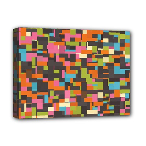 Colorful Pixels Deluxe Canvas 16  X 12  (stretched)