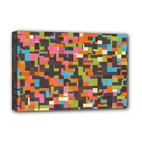 Colorful Pixels Deluxe Canvas 18  X 12  (stretched)