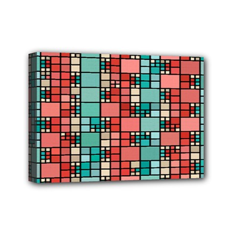 Red And Green Squares Mini Canvas 7  X 5  (stretched) by LalyLauraFLM