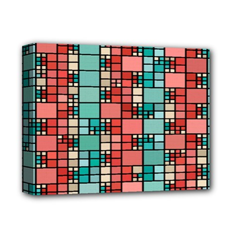 Red And Green Squares Deluxe Canvas 14  X 11  (stretched) by LalyLauraFLM