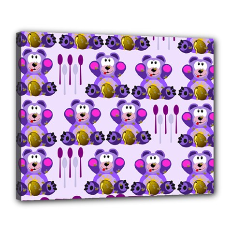 Fms Honey Bear With Spoons Canvas 20  X 16  (framed) by FunWithFibro
