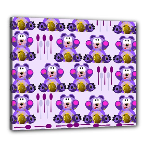 Fms Honey Bear With Spoons Canvas 24  X 20  (framed) by FunWithFibro