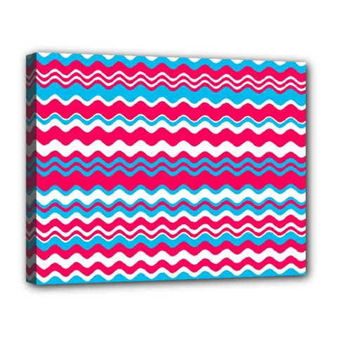 Waves Pattern Canvas 14  X 11  (stretched) by LalyLauraFLM
