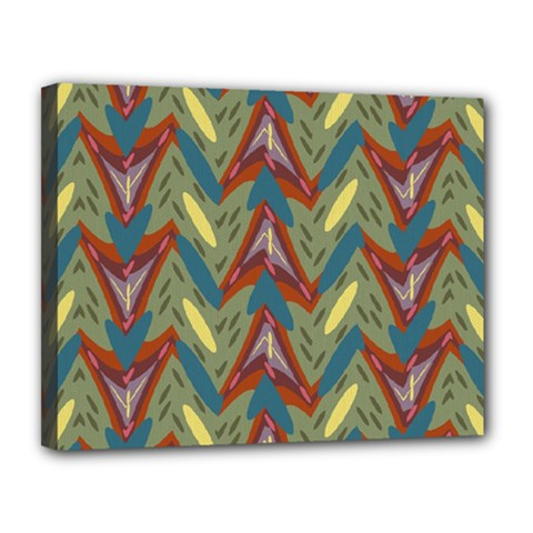 Shapes Pattern Canvas 14  X 11  (stretched) by LalyLauraFLM