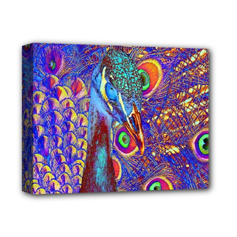 Peacock Deluxe Canvas 14  X 11  (framed) by icarusismartdesigns