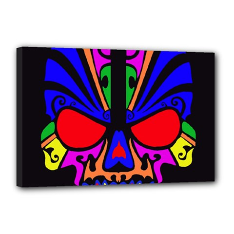 Skull In Colour Canvas 18  X 12  (framed) by icarusismartdesigns