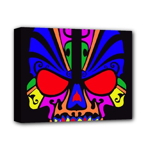 Skull In Colour Deluxe Canvas 14  X 11  (framed) by icarusismartdesigns