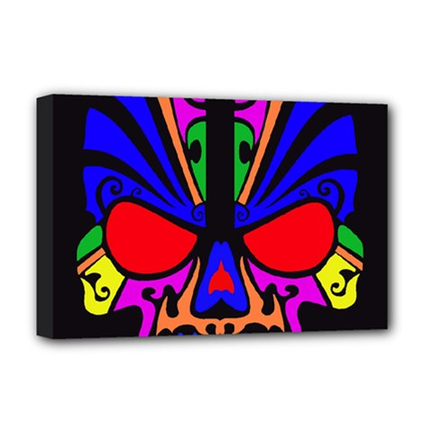 Skull In Colour Deluxe Canvas 18  X 12  (framed) by icarusismartdesigns