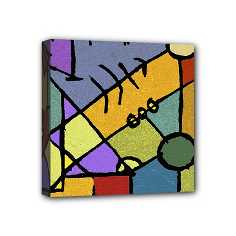 Multicolored Tribal Pattern Print Mini Canvas 4  X 4  (framed) by dflcprints