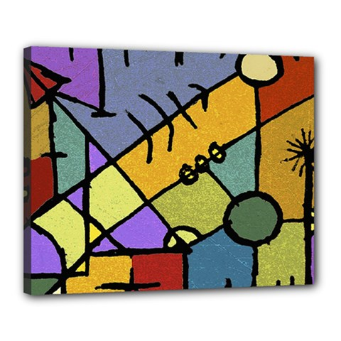 Multicolored Tribal Pattern Print Canvas 20  X 16  (framed) by dflcprints