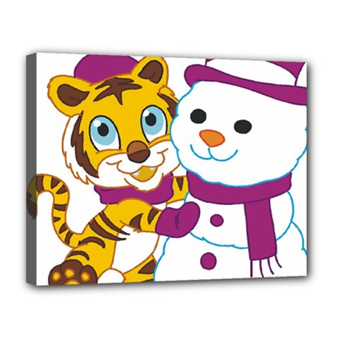 Winter Time Zoo Friends   004 Canvas 14  X 11  (framed) by Colorfulart23