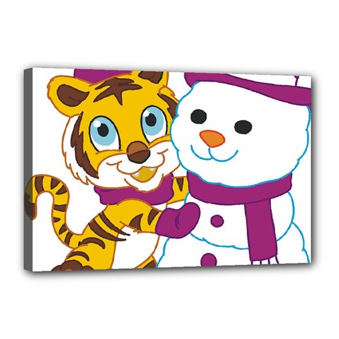 Winter Time Zoo Friends   004 Canvas 18  X 12  (framed) by Colorfulart23
