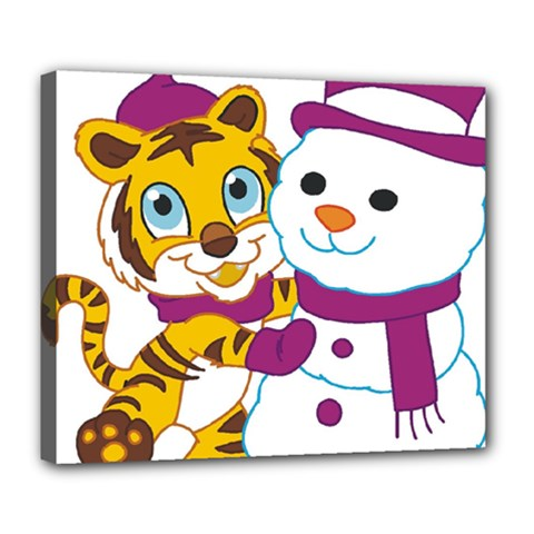 Winter Time Zoo Friends   004 Deluxe Canvas 24  X 20  (framed) by Colorfulart23