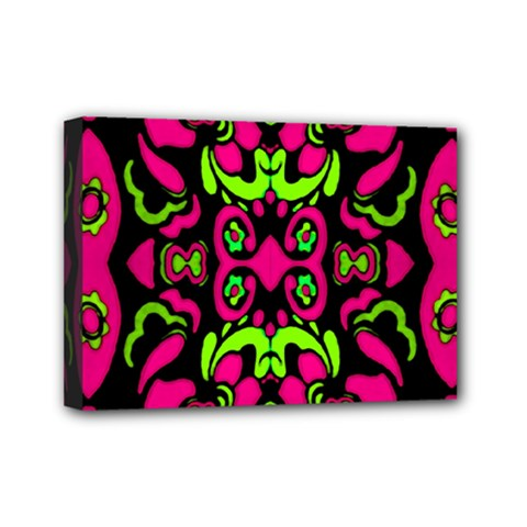 Psychedelic Retro Ornament Print Mini Canvas 7  X 5  (framed) by dflcprints
