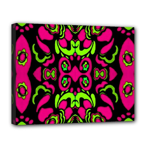 Psychedelic Retro Ornament Print Canvas 14  X 11  (framed) by dflcprints