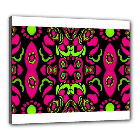 Psychedelic Retro Ornament Print Canvas 24  X 20  (framed) by dflcprints