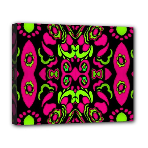 Psychedelic Retro Ornament Print Deluxe Canvas 20  X 16  (framed) by dflcprints