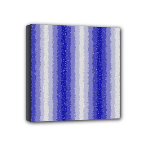 Dark Blue Curly Stripes Mini Canvas 4  X 4  (framed) by BestCustomGiftsForYou