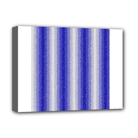 Dark Blue Curly Stripes Deluxe Canvas 16  X 12  (framed)  by BestCustomGiftsForYou
