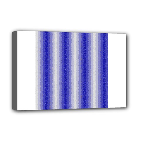 Dark Blue Curly Stripes Deluxe Canvas 18  X 12  (framed) by BestCustomGiftsForYou